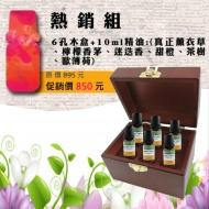 熱銷精油組-10ml純精油x6瓶+六孔精油木盒